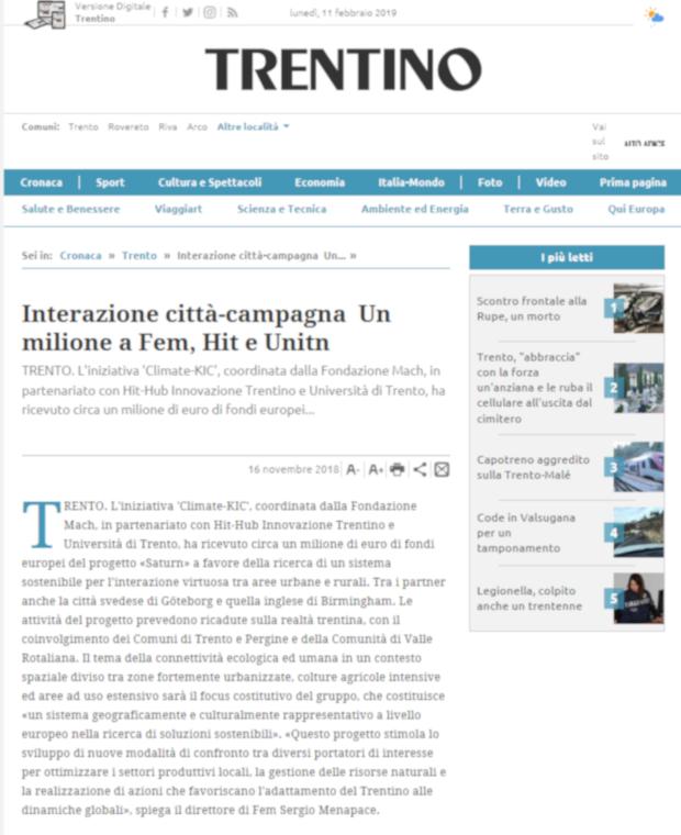 Interazione Citta Campagna Un Milione A Fem Hit E Unitn Trento Trentino Dissemination News And Events Saturn Eventi Fondazione Edmund Mach Eventi Fondazione Edmund Mach